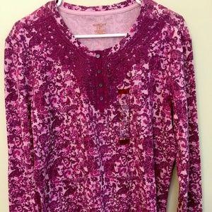 XL NorthCrest Women's Plus Purple Floral Longjohn
